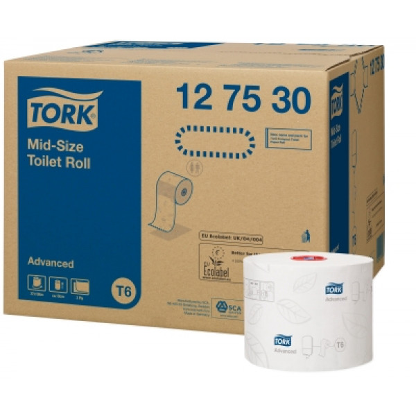 Tork T6 Advanced Mid-size wc-paperi 2-krs valkoinen 27rll (Compact )