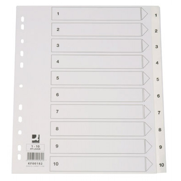 Hakemisto A4 1-10 ylileveä PP-muovi valkoinen