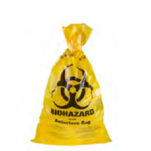 Autoklavoitava Biohazard-merkitty keltainen jätepussi 70x110cm 72L 350kpl