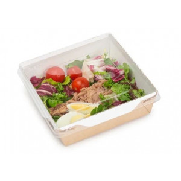 Salaattirasia ruskea/valkoinen PET-muovikannella 900ml 15x15x5cm 200kpl