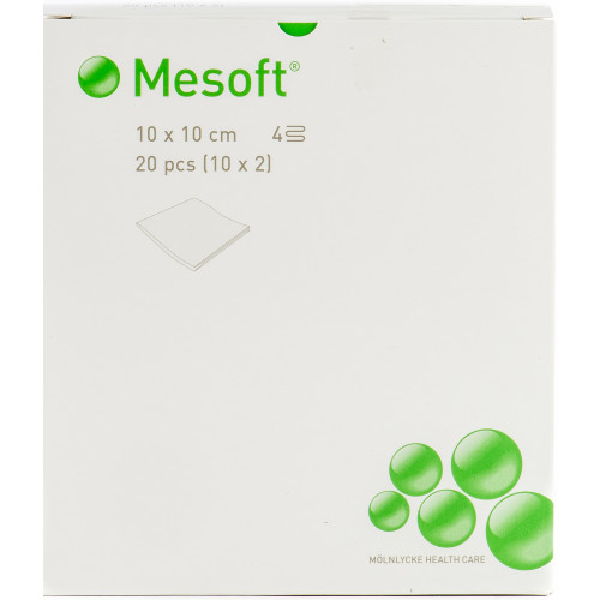 Mesoft® kuitukangastaitos 10x10cm 4-krs. apteekkipaketti 400kpl