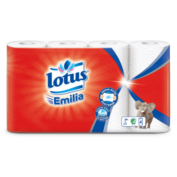 Lotus Emilia talouspaperi 2-krs valkoinen 12,5m x 20rll